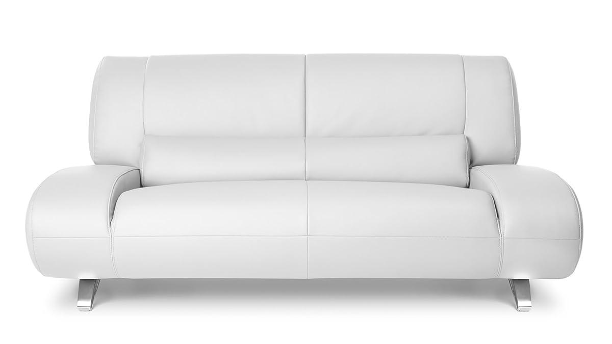 Zuri Furniture Modern Aspen White Microfiber Leather Loveseat