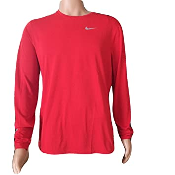 4861b299 Nike Men's Running Contour Long Sleeve Shirt Dri-Fit Crew Tee Red 849954  657 (Large): Amazon.co.uk: Sports & Outdoors