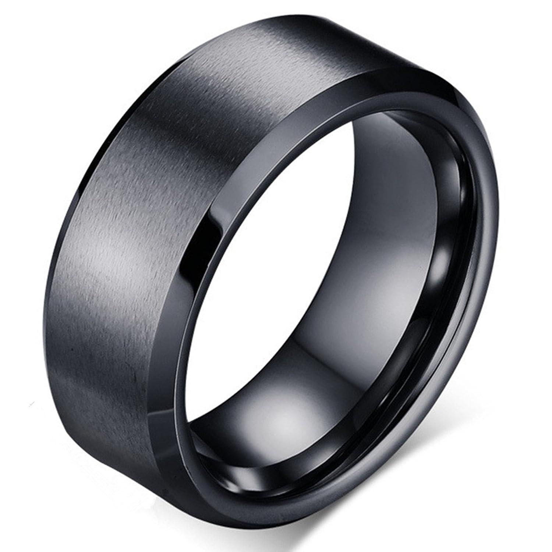 Tungsten Carbide Black Men's 8mm Wedding Band Brushed Matte Finish Polished Edge Engagement Ring -Kiss me