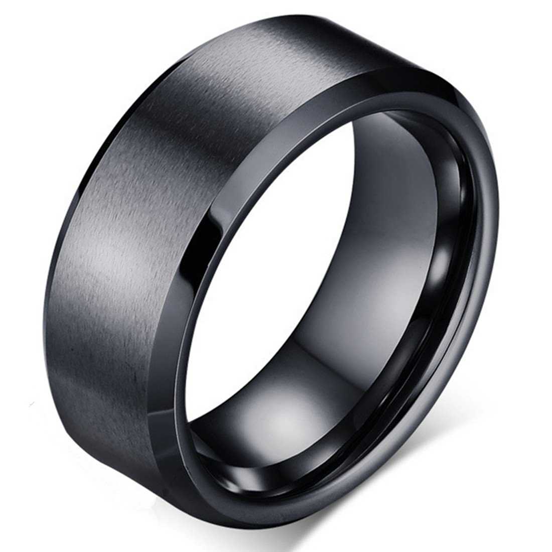 Tungsten Carbide Black Mens 8mm Wedding Band Brushed Matte Finish Polished Edge Engagement Ring -Kiss me (9)