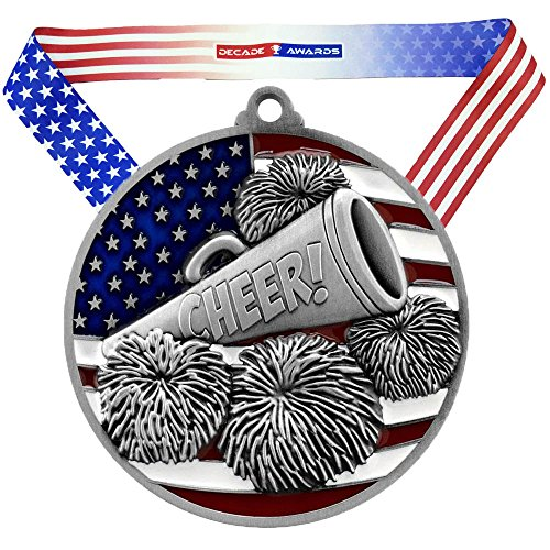 (Decade Awards Cheer Patriotic Medal - Silver | Red, White, Blue Spirit Award | Includes Stars and Stripes American Flag Neck Ribbon | 2.75 Inch Wide)