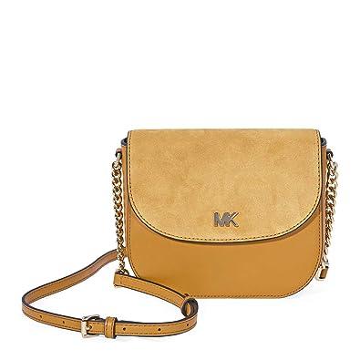 8463da1f6a8d MICHAEL Michael Kors Leather and Suede Saddle Bag, Color 706 Marigold