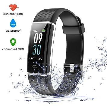 EUMI Écran Coloré Montre Connectée Smartwatch Podomètre Tracker dActivité Bracelet Sport, Etanche IP68