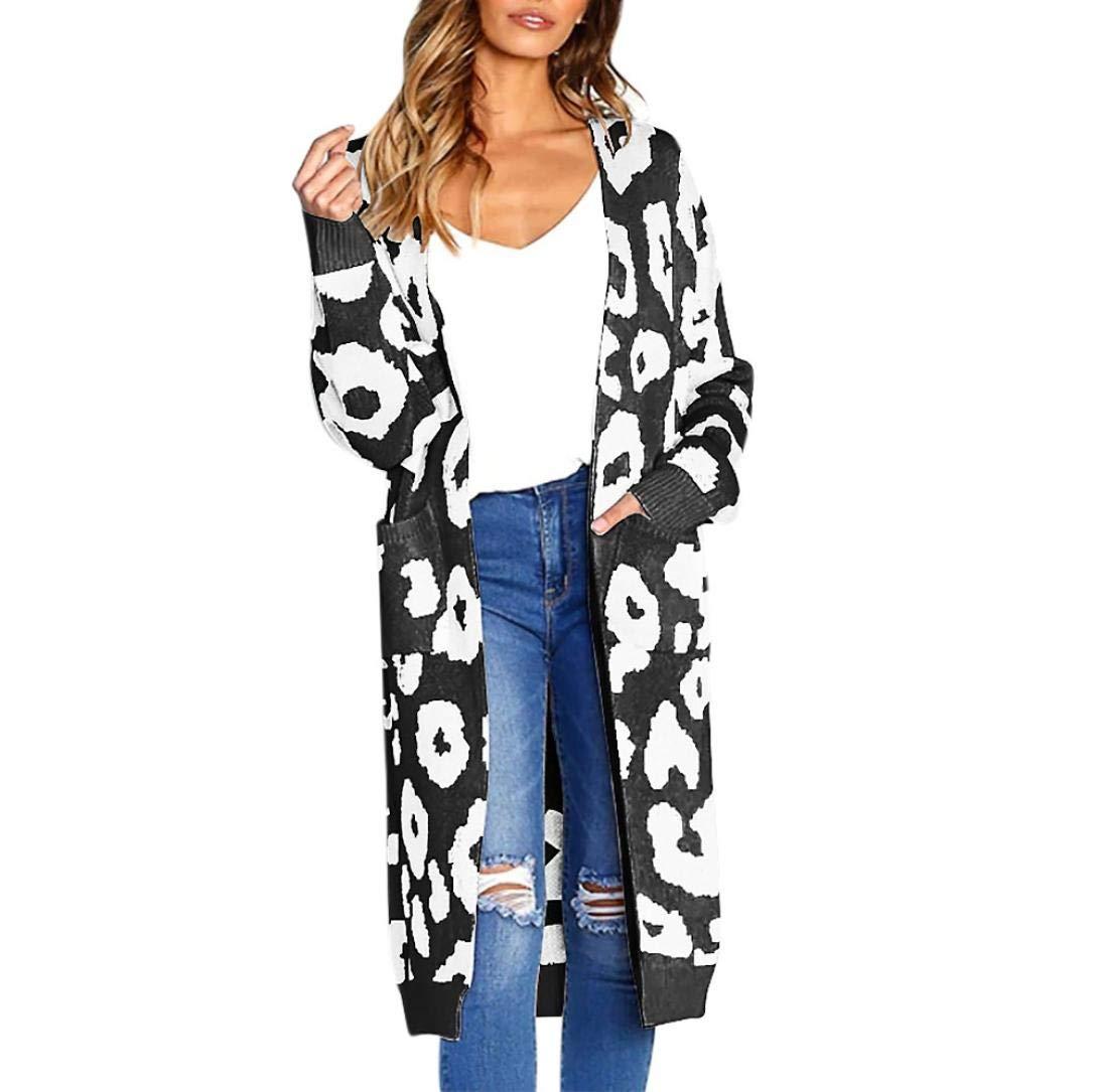 Women Long Sleeve Coat Leopard Print Cardigan Knitted Long Sweater Pocket Top(Black,Large)
