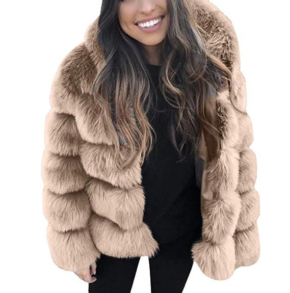 88574038c72c6 FNKDOR Manteaux en Fausse Fourrure pour Femmes d hiver Chaud Épais Veste à  Capuche Cardigan