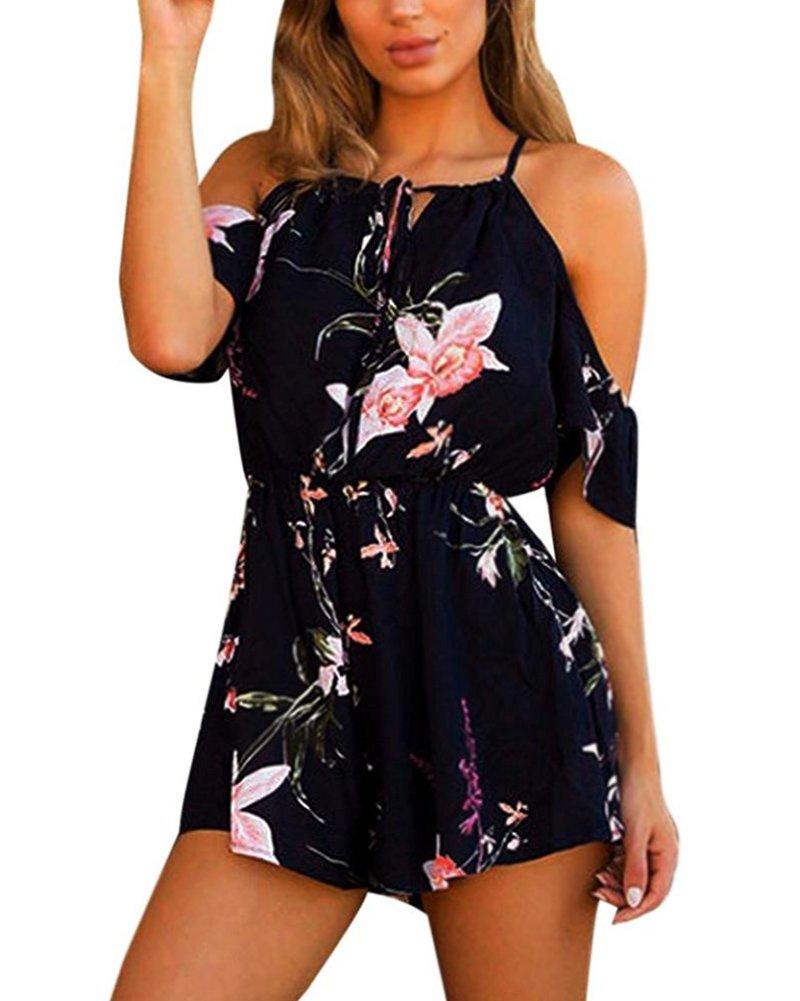 Minetom Femme Été Sans Manches Col Rond Combinaison Floral Imprimer Jumpsuit Sans Bretelles Rompers Combishort JD170710BY-DE03