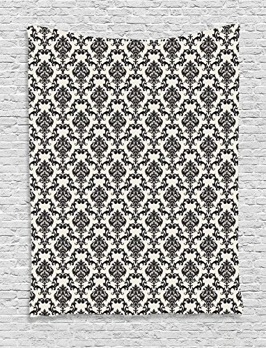 Damask Decor Tapestry Wall Hanging by Ambesonne, Contemporary Western Damask Motif with Weave Effect Floral Leaves Graphic Design, Bedroom Living Room Dorm Decor, 60 W x 80 L Inches, Beige Black