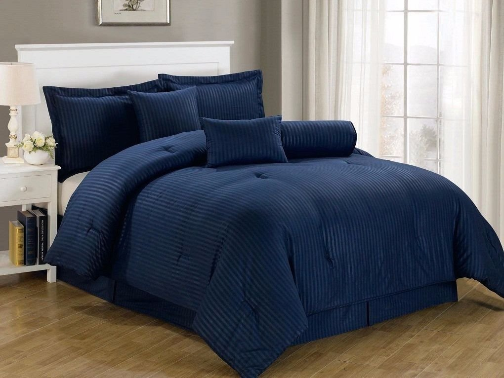 Chezmoi Collection 7-piece Hotel Solid Dobby Stripe Comforter Set Cal King, Navy… best