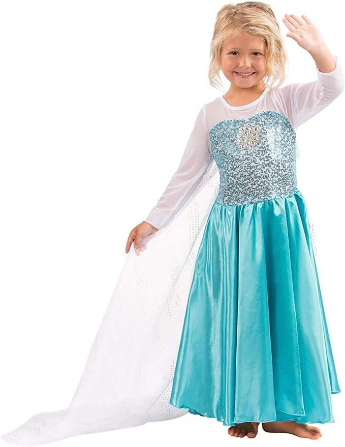Details about  /Childrens Kids Girls Cute Ice Snow Queen Elsa Halloween Costume Dress Gown