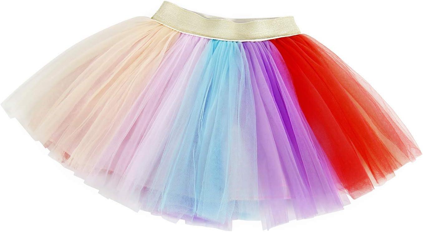 AmzBarley Unicorn Dress Girls Tutu Princess Dress Party Princess Skirt Kids Outfit Rainbow