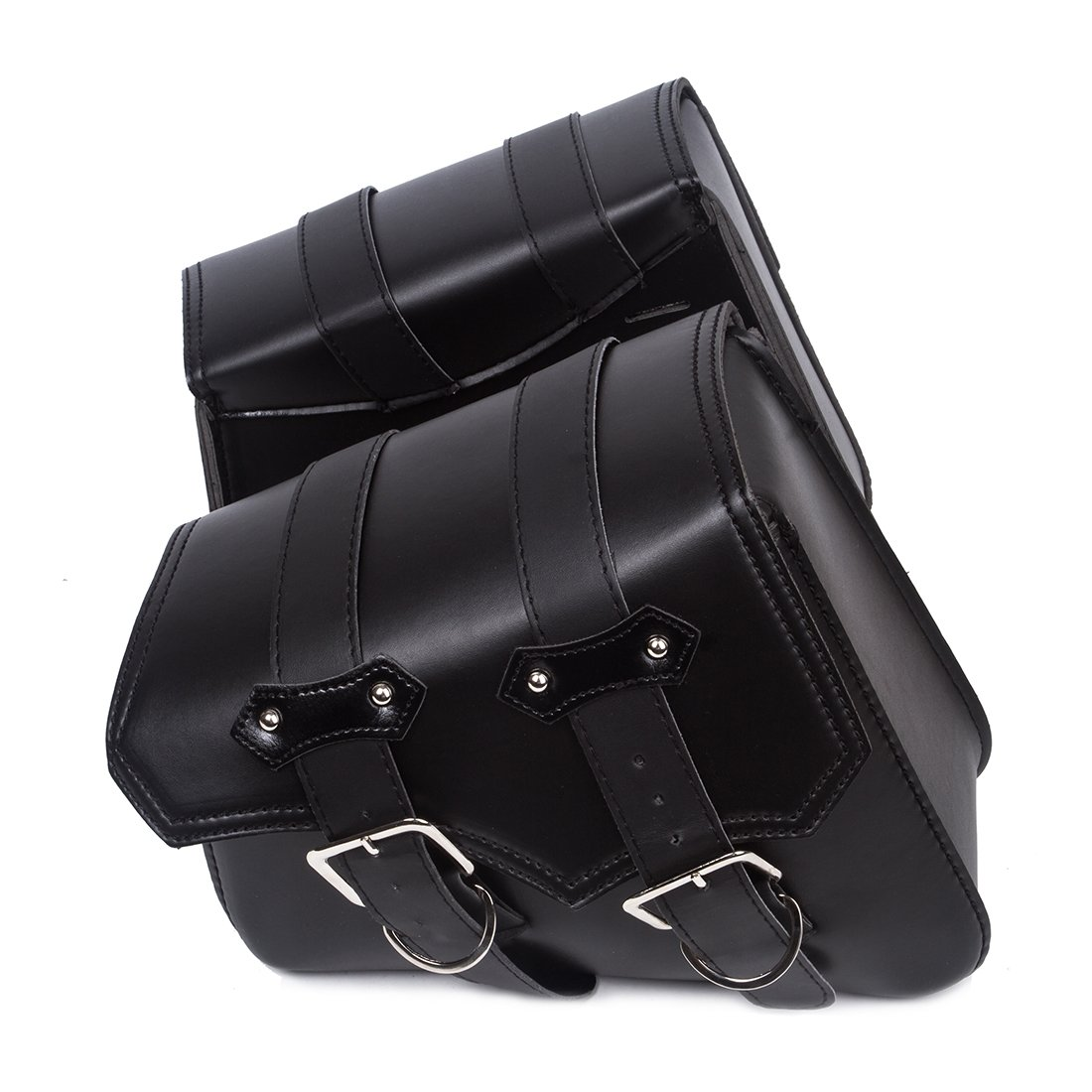 2PC Motorcycle Black triangular Synthetic Leather 2-Strap Saddlebag Tool Bag