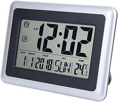 UMEXUS Large Display Digital Wall Clock Desk Alarm With Calendar Temperature Silver