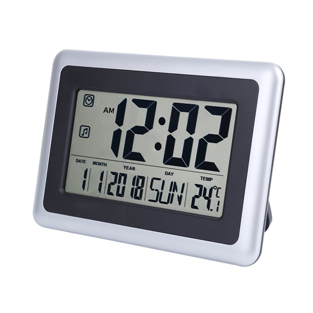 UMEXUS Large Display Digital Wall Clock Desk Alarm Clock with Calendar & Temperature (Silver)