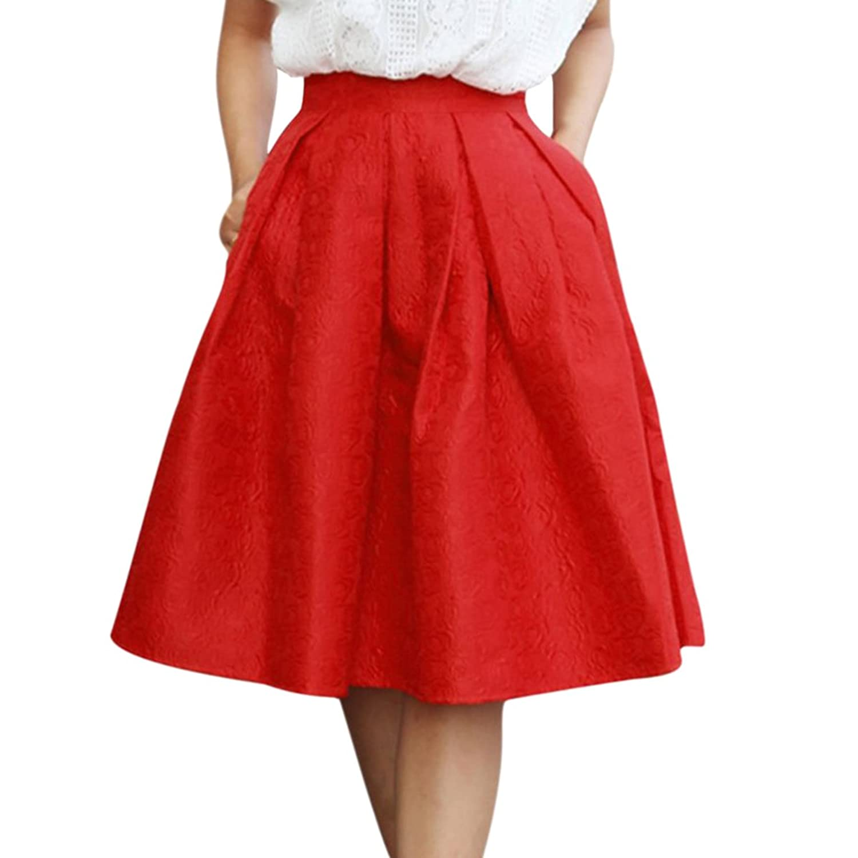 Sue&Joe Women's Flared Skirt A Line Knee Length Plain Swing Pleated Circle Skirt