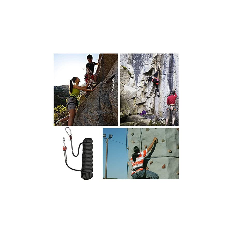 Climbing Rope Black 32 Ft,Outdoor Safety Rope,Strong Hanging Rope,Climbing Slings,Hiking Accessories,Diameter of 0.39 In,Max Tension 660 Lbs.