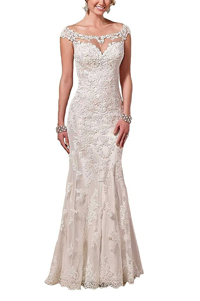 Firose Lace Wedding Dresses Satin Sheath Illusion Neckline Mermaid