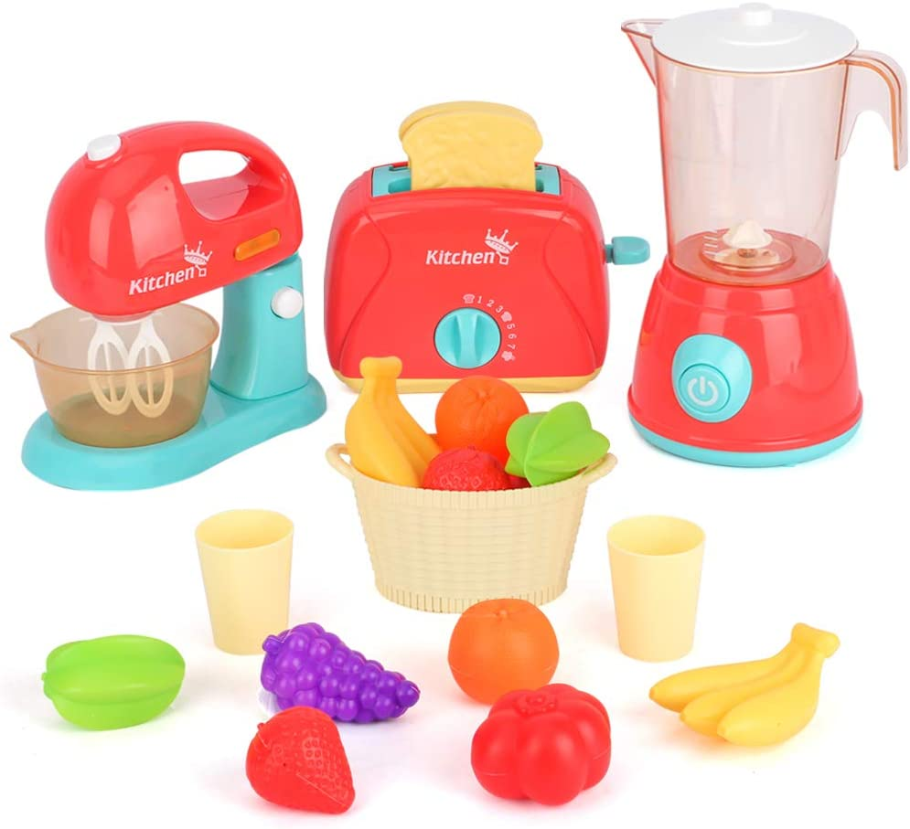 LBLA Kids Pretend Play Kitchen Set, Assorted Kitchen Appliance Toys with Mixer, Blender, Toaster Play Foods and Accessories,Great Learning Gifts for Baby Toddlers Girls Boys