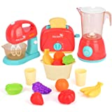 LBLA Kids Pretend Play Kitchen Set, Assorted Kitchen Appliance Toys with Mixer, Blender, Toaster Play Foods and…