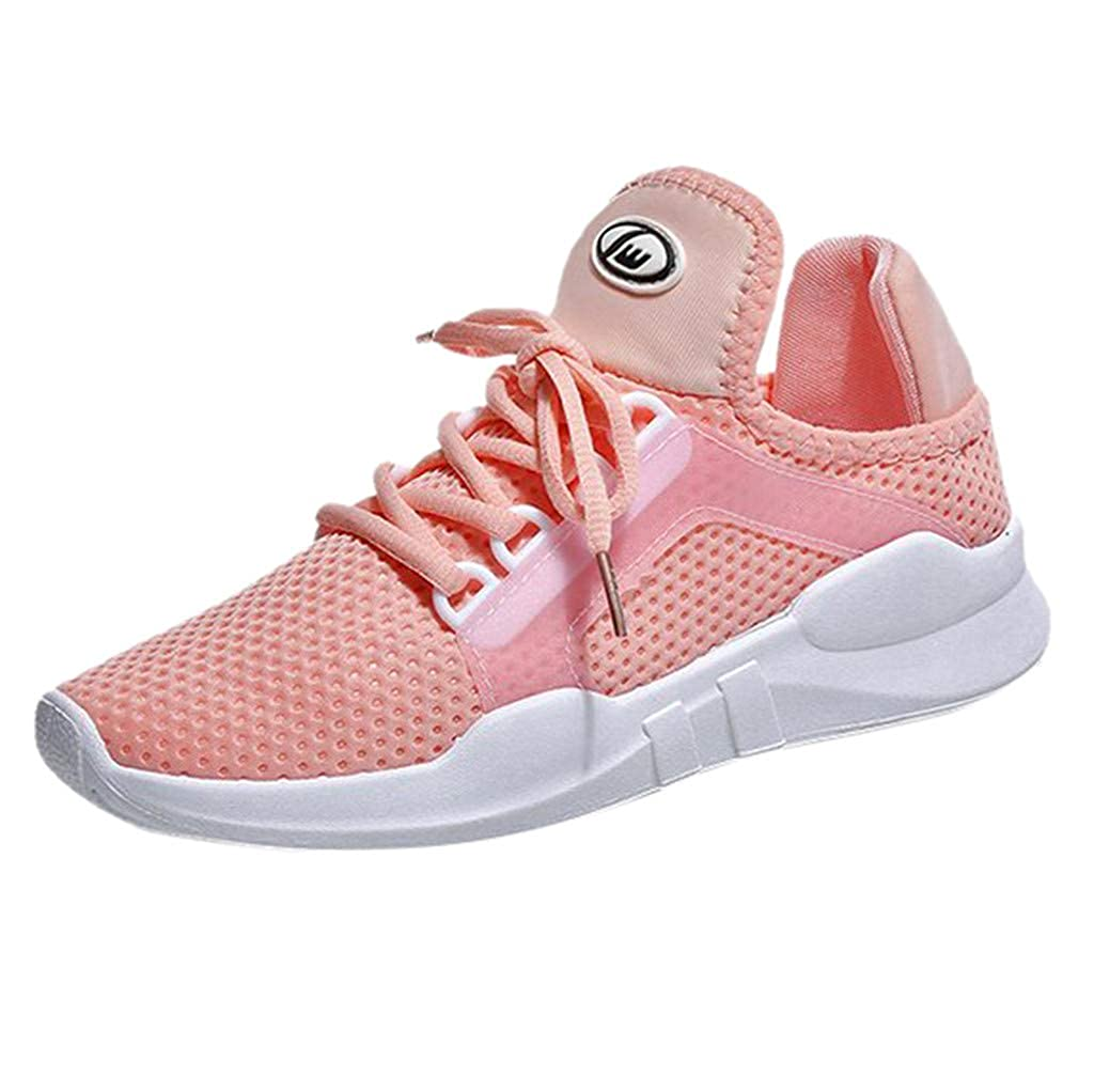 Colmkley Women Lightweight Knit Shoes Casual Solid Lace-up Mesh Sneakers