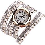 Culater® Jolie Femme Tressé Enroulement Pellicule Rivett Bracelet Poignet Quartz Montre-bracelet Blanc