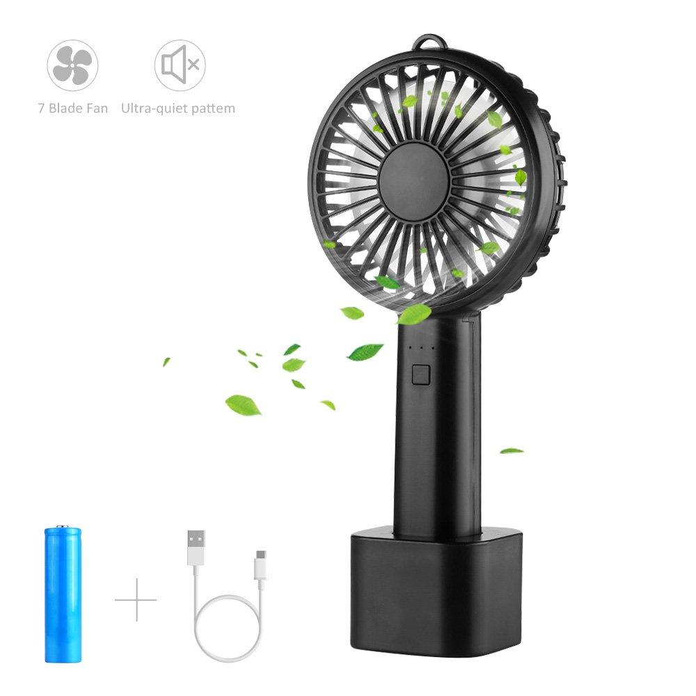 LOBKIN Portátil de Bolsillo Portátil Mini Ventilador Ventilador Eléctrico con Batería Recargable 2600mAh 8 Horas de Tiempo de Trabajo Ajustable 3 Velocidades para la Habitación de Oficina Al Aire Libre Del Hogar Viajando (negro)