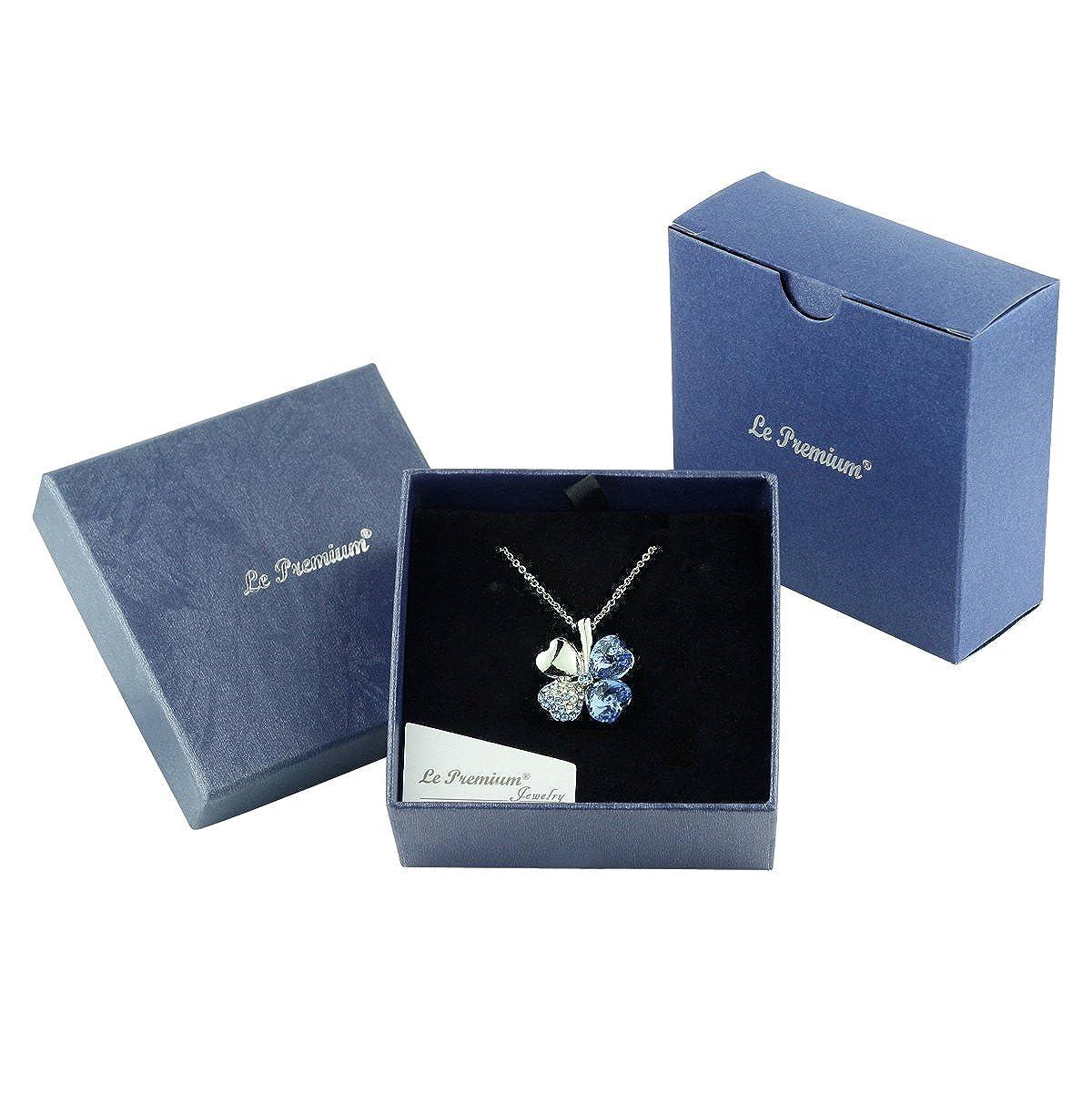 Le Premiumà Collier avec pendentif trèfle à fait avec SWAROVSKIà ELEMENTS  Saphir Lumière  Amazon.fr  Bijoux 189fdf7be142