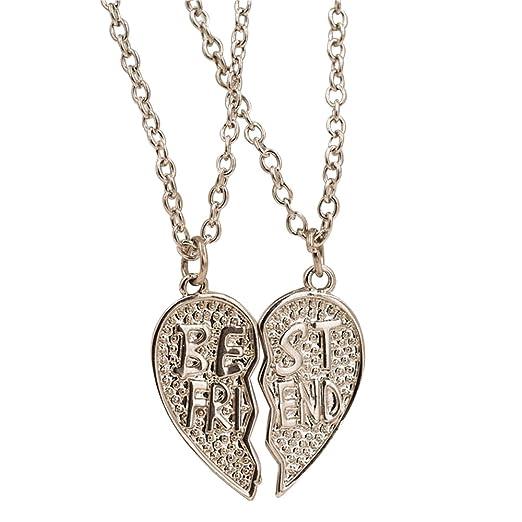Happy Hours - Vintage Broken Heart 2 Parts Best Friends Pendants With Chain / Womens Heart Shape Necklace