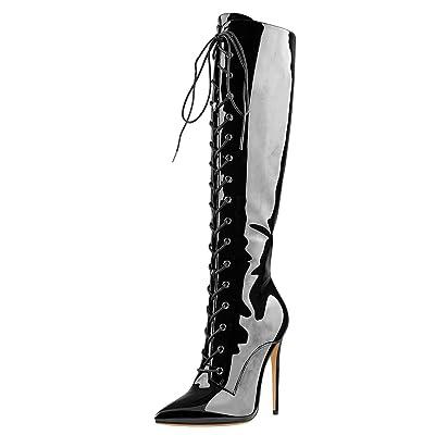 Onlymaker Women's Knee High Lace Up High Shaft Heeled Stiletto Boot | Knee-High