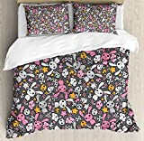 Doodle Queen Size Duvet Cover Set by Ambesonne, Kawaii Bunnies and Clouds with Cute Heart Eyed Skulls Japanese Anime Design Print, Decorative 3 Piece Bedding Set with 2 Pillow Shams, Multicolor