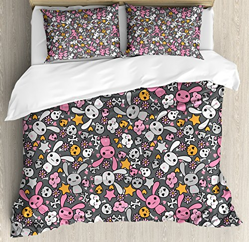 Ambesonne Doodle Duvet Cover Set Queen Size, Kawaii Bunnies and Clouds with Heart Eyed Skulls Japanese Anime Design Print, Decorative 3 Piece Bedding Set with 2 Pillow Shams, Grey Pink -