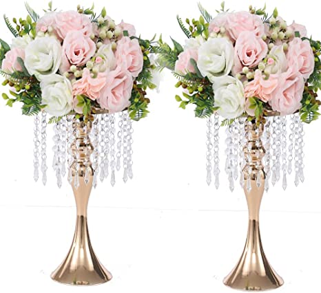 Amazon Com 2pcs Acrylic Imitation Crystal Flower Stand Gold Silver Flower Vase Wedding Centerpiece Lead Road Candlestick For Wedding Event Decoration Gold 13 Kitchen Dining