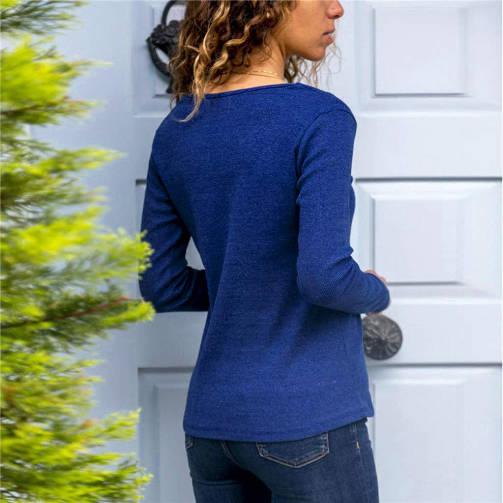FORUU Casual Button T-Shirt Long Sleevel Tops Blouses for Womens