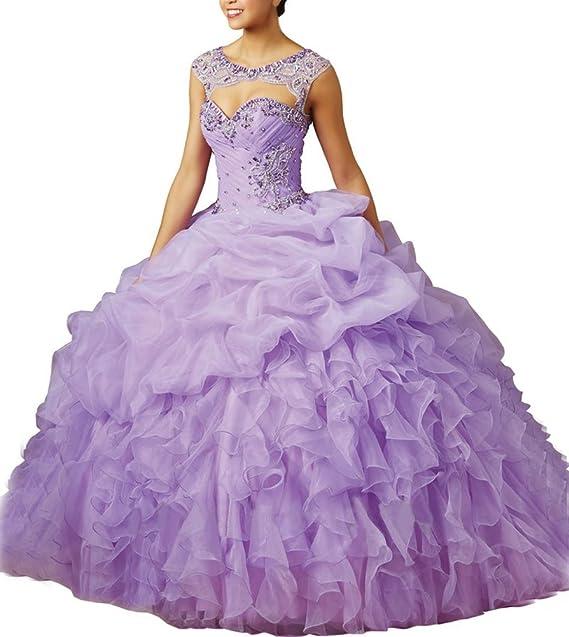 Bridal_Mall mujer hermosa organza de novia (largo vestidos de quinceañera Prom Fiesta light-purple
