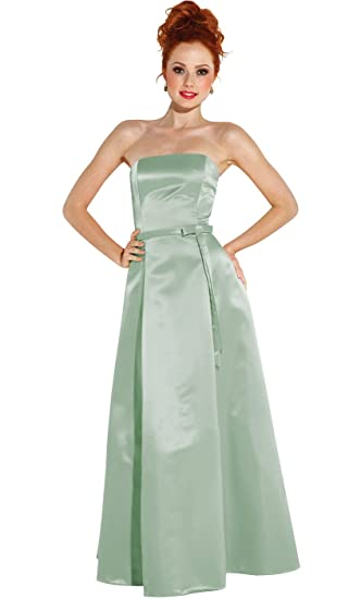 Amazoncom 50s Strapless Satin Long Bridesmaid Prom Dress Formal