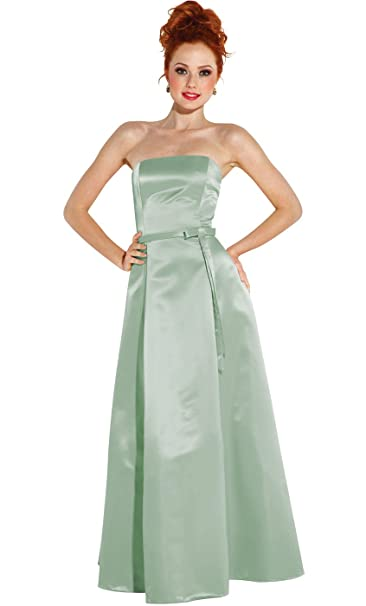 PacificPlex 50s Strapless Satin Long Bridesmaid Prom Dress Formal Junior  Plus Size
