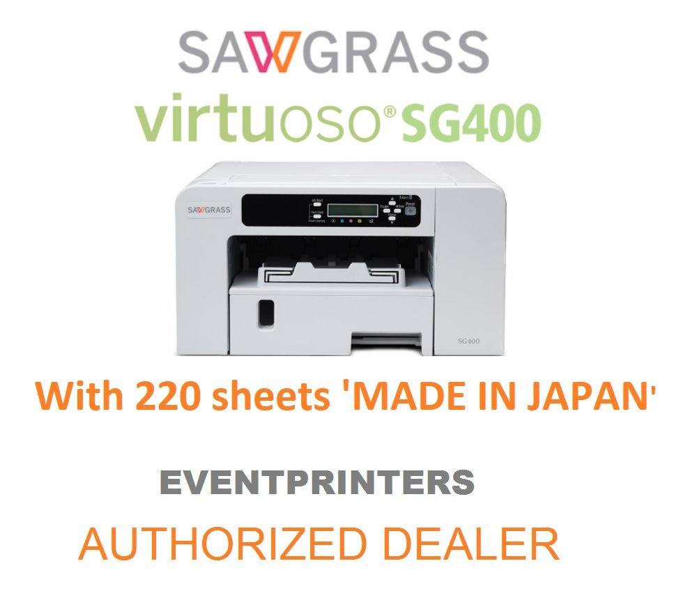 Sawgrass Virtuoso SG400 Sublimation Printer with original Sublijet HD inks (complete set) and 220 SHEETS of 8-1/2 x 11 Sublimation Paper (Made in Japan). This offer includes Creative Studio Software!