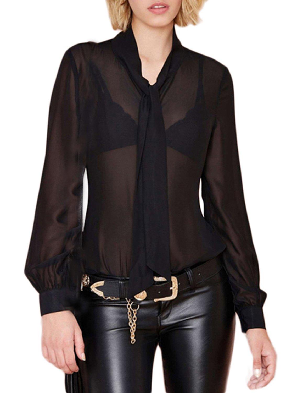 HaoDuoYi Womens Mesh See Through Chiffon Tie Cufflink Sexy Vintage Basic Blouse(L,Black)