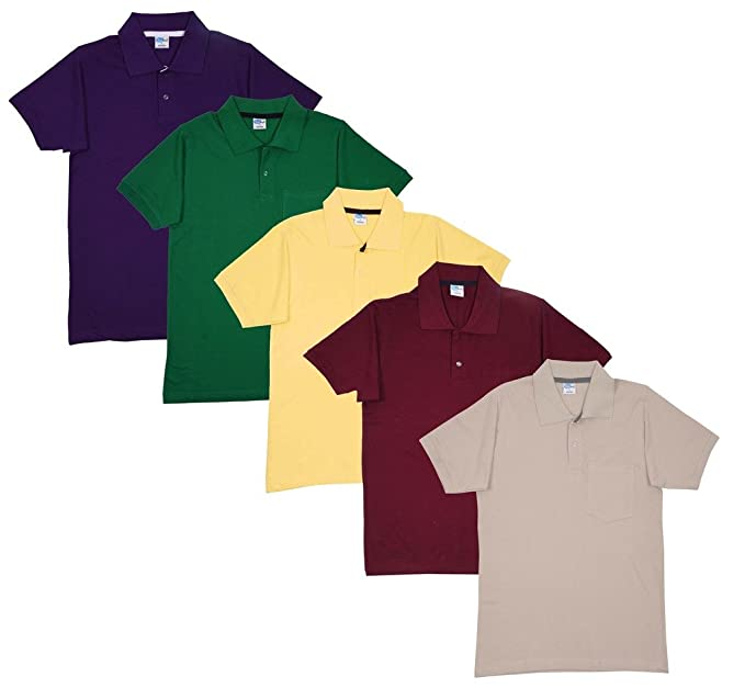 73614aec3840 FLEXIMAA Men's Cotton Polo Collar T-Shirts with Pocket Combo Pack (Pack of  5) -Purple, Green, Yellow, Maroon & Biscuit Color.