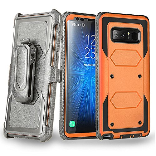 - Galaxy Note 8 Case, Telegaming Heavy Duty Hybrid Rugged Case with LCD Screen Protector + Belt Swivel Clip Holster Kickstand Shock Absorption Durable Cover for Samsung Galaxy Note 8 Orange