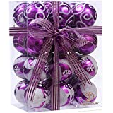 Sea Team 60mm/2.36'' Delicate Painting & Glittering Shatterproof Christmas Ball Ornaments Decorative Hanging Christmas Ornaments Baubles Set for Xmas Tree - 24 Counts (Purple)
