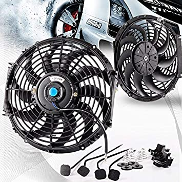12in Universal Car Slim Push Pull Electric Engine Cooling Fan 12V with Mounting