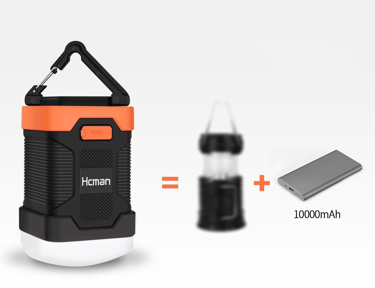 LED Camping Lantern Rechargeable Light - Hcman Power Bank 10000 mAh, Tent Flashlight Led Camping Lamp IP65 Waterproof Camping Gear Equipment for Camping, Hiking, Fishing and Emergencies