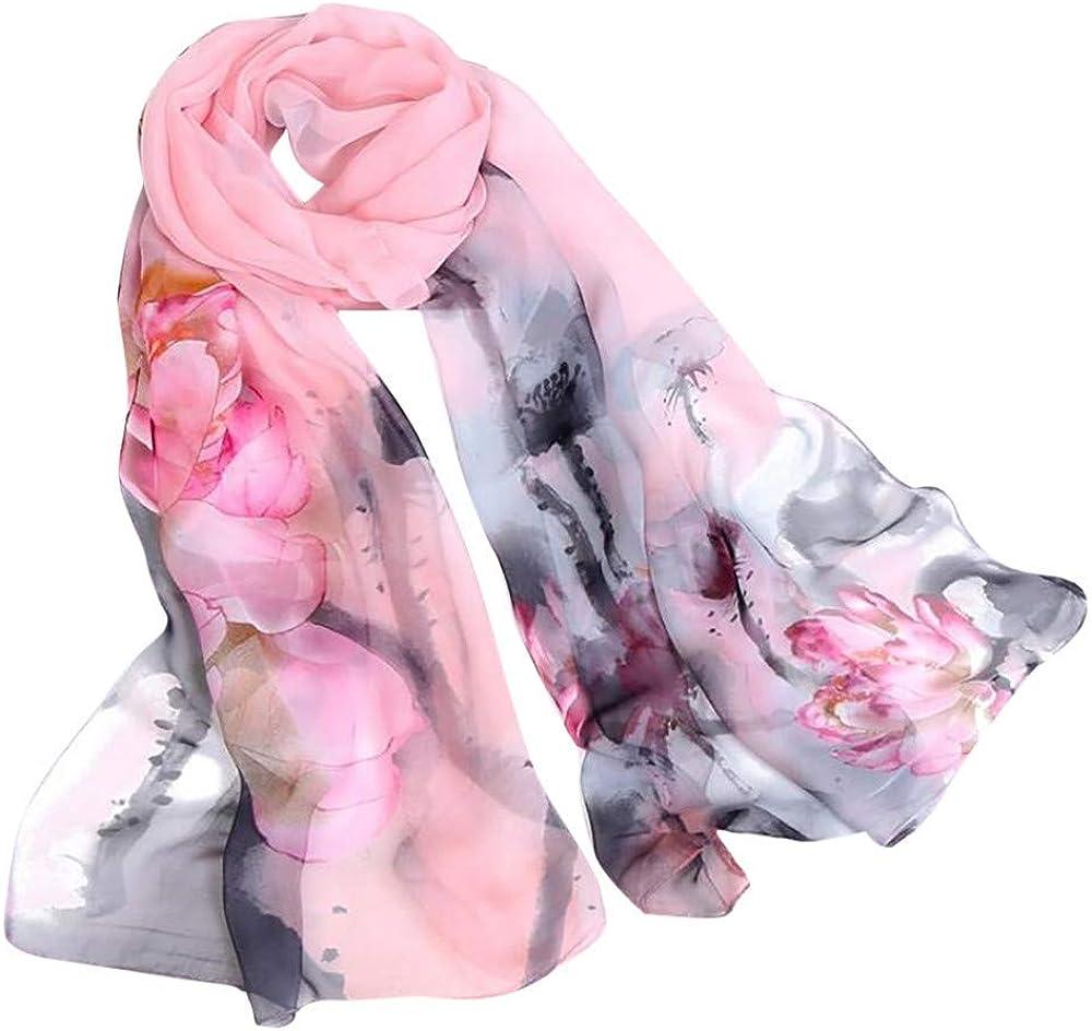 MaoDaAiMaoYi Bufanda De Las Señoras De Lotus Vida de Moda Longitud De Impresión Suave Del Abrigo De La Moda De Las Mujeres De La Bufanda Bufandas Estilo Chino