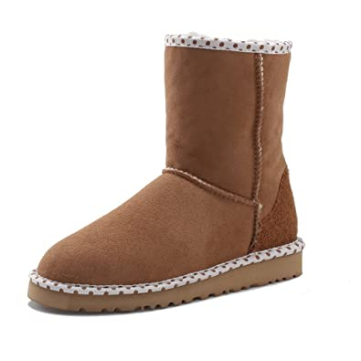 Women's Sheepskin Color Block Mid-Calf Snow Boots 5080