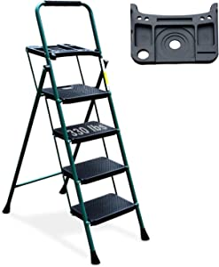 4 Step Ladder, HBTower Folding Step Stool with Tool Platform, Wide Anti-Slip Pedal, Sturdy Steel Ladder, Convenient Handgrip, Lightweight 330lbs Portable Steel Step Stool, Green and Black