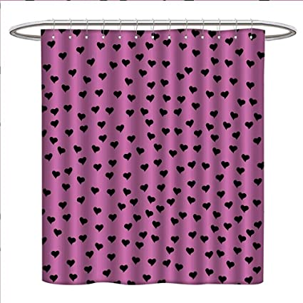 Littletonhome Hot Pink Shower Curtains Fabric Love Valentines Day Black Mini Hearts On Fuchsia Backdrop Abstract