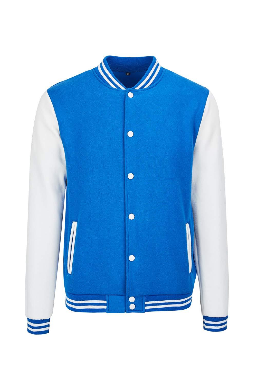 TRIFUNESS Varsity Jacket Letterman Jacket Baseball Jacket with Long Sleeve Banded Collar Size S Blue by TRIFUNESS