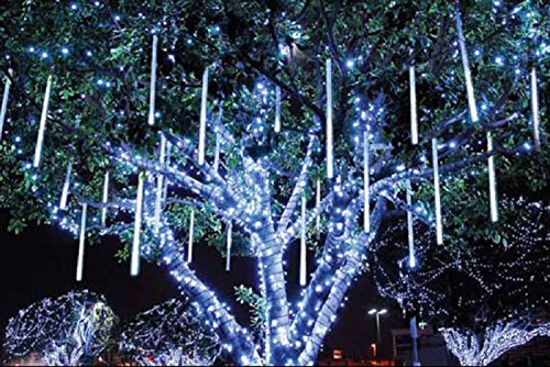LED Solar Power Outdoor Meteor Shower Rain Lights Waterproof Tubes Fairy White String Lights (Fairy Lights Rain)