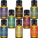 ARTICULOS NATURALES DE AROMATERAPIA Top 8 Aceites esenciales, 100% puro de la más alta calidad, Hierbabuena / Árbol de té / Romero / Naranja / Lemongrass / Lavanda / Eucalyptus / Fr