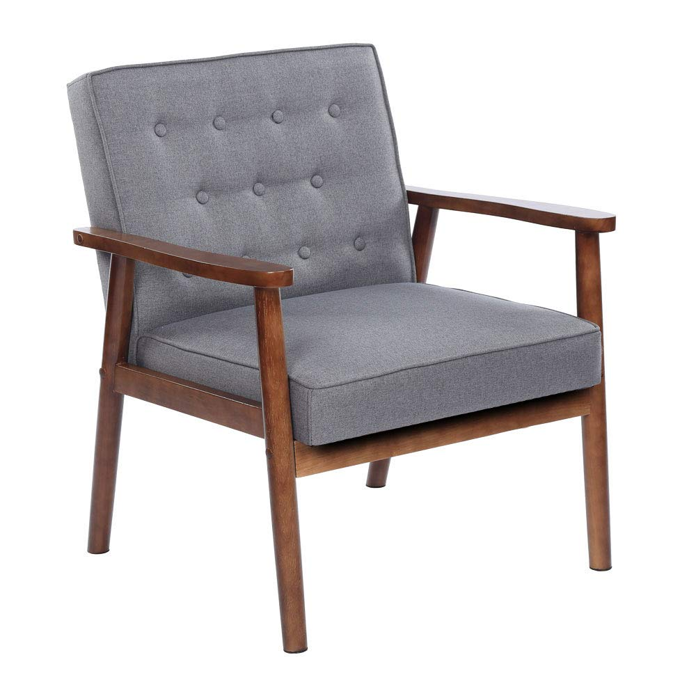 Bonnlo Mid-Century Retro Lounge Chair Modern Living Room Chair Fabric Upholstered Armchair Solid Wood Lounge Chair Sofa Studio Apartment Accent Chair by Bonnlo